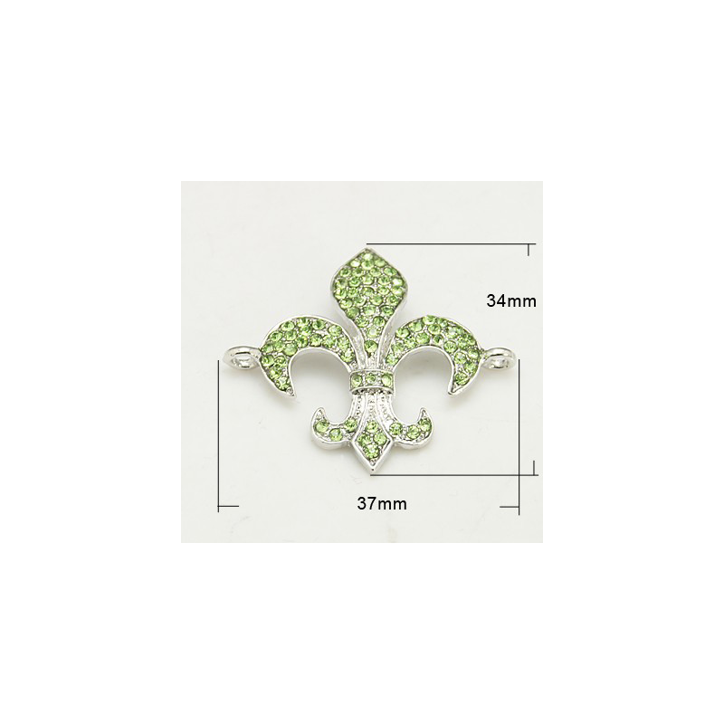 Länk Rhinestone Grade A, Fleur de Lis, PERIDOT