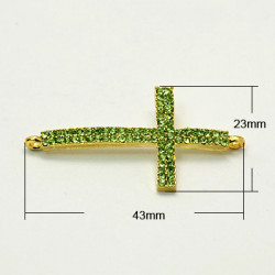 Länk Rhinestone Grade A, Kors E039, PERIDOT