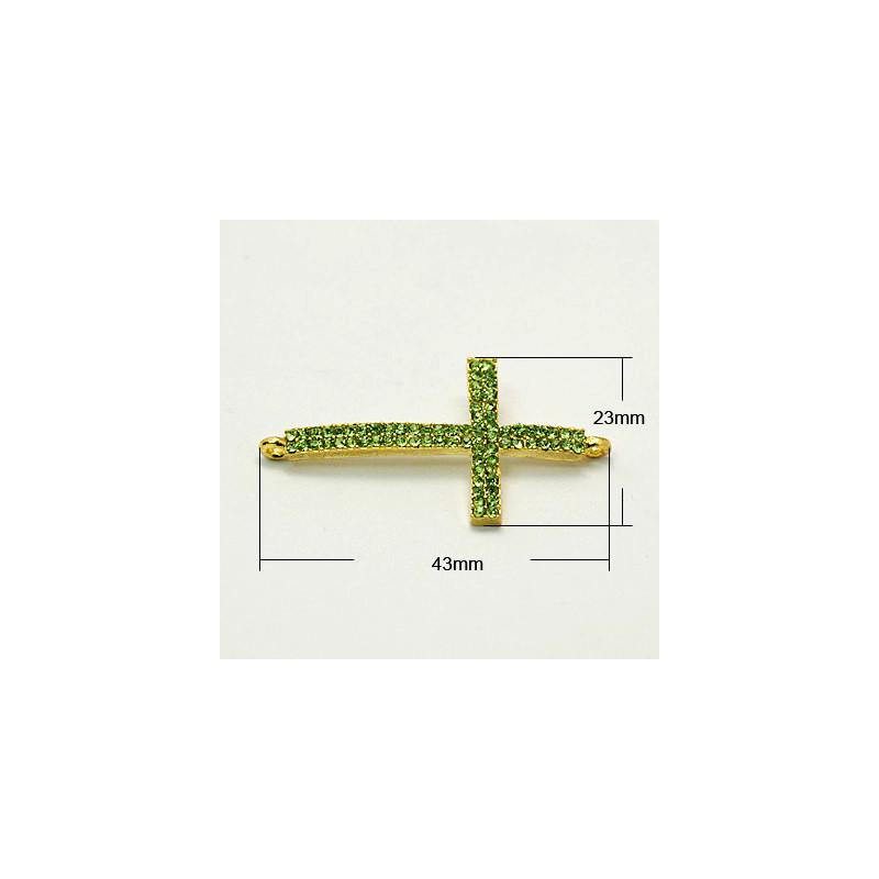 Länk Rhinestone Grade A, Kors E039, PERIDOT