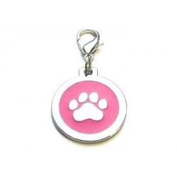Dog ID-tag 25mm - Paw Pink...