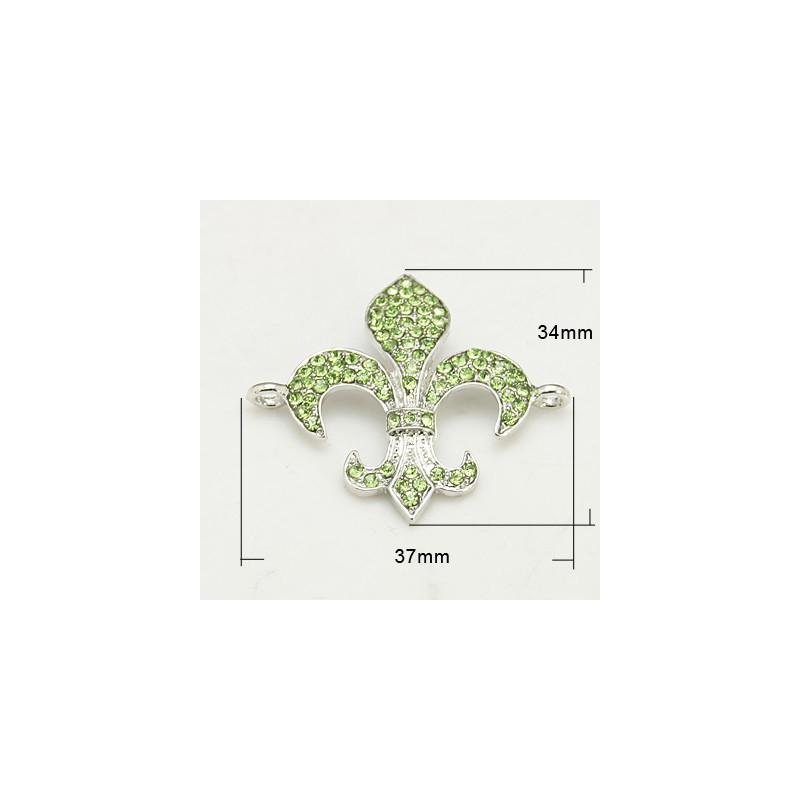 Länk Rhinestone Grade A, Fleur de Lis, PERIDOT (07N)