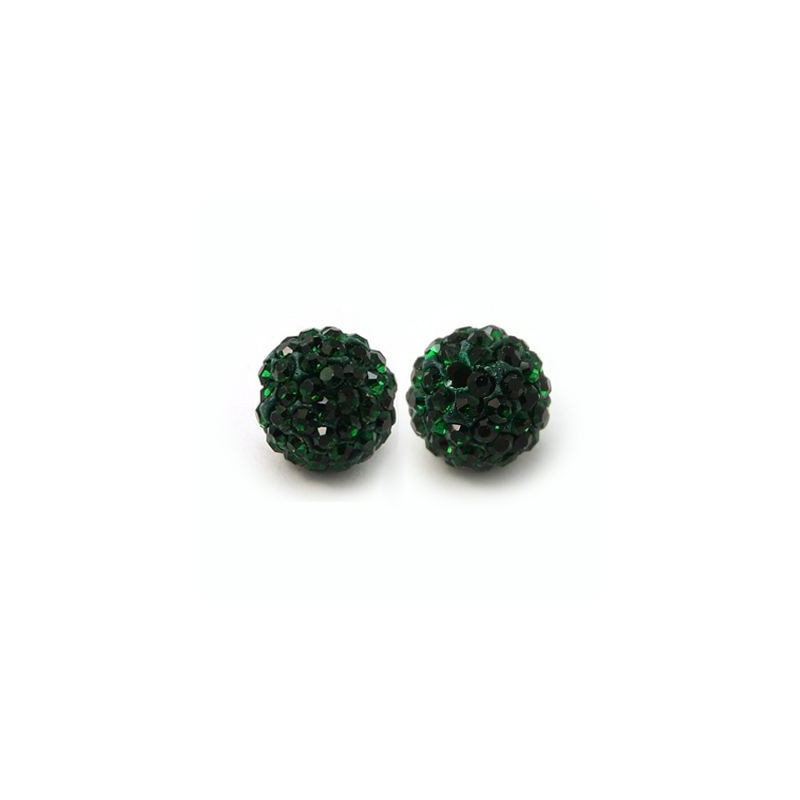 Pärla 10mm PC Rhinestone Grade A Emerald (08) 5-pack