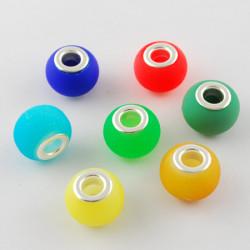 Glaspärla Silverkärna 15x11mm, hål 5mm, mixade färger 10-pack