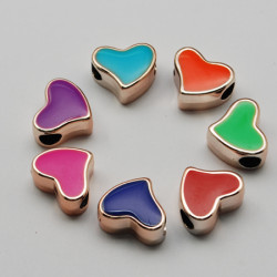Hjärta Enamel, 13x16x8mm, hål 5mm, mixade färger 10-pack