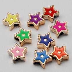 Stjärna Enamel, 18x19x8mm, hål 5mm, mixade färger 10-pack