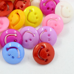 Knapp Akryl 20mm Smiley Mix 10-pack