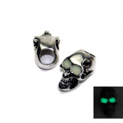 Skalle Metall Goth, Vertikalt Hål, Glow-in-dark ögon, Silver ögon, Guld