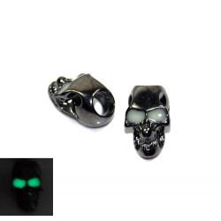 Skalle Metall Goth, Vertikalt Hål, Glow-in-dark ögon, Gun Black