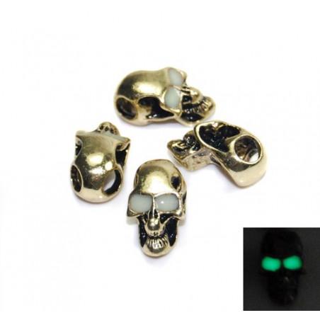 Skalle Metall Goth, Horisontellt Hål, Glow-in-dark ögon, Guld