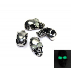 Skalle Metall Goth, Horisontellt Hål, Glow-in-dark ögon, Silver