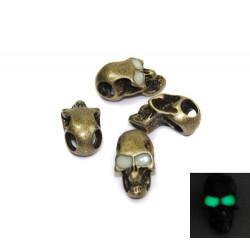 Skalle Metall Goth, Horisontellt Hål, Glow-in-dark ögon, Antik Brons