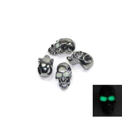 Skalle Metall Goth, Horisontellt Hål, Glow-in-dark ögon, Gun Black